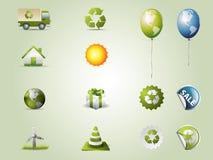 установленные иконы eco Стоковое Изображение RF