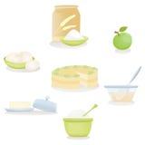 Установленные ингридиенты торта Apple Иллюстрация вектора