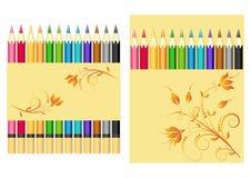 установленные карандаши цвета иллюстрация вектора