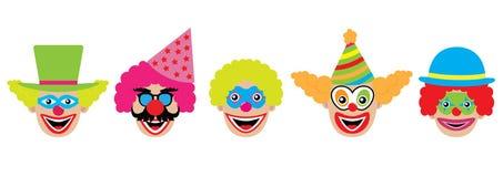 Установленные клоуны, значки также вектор иллюстрации притяжки corel Стоковое Изображение