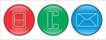 Установленные кнопки контакта иллюстрация вектора