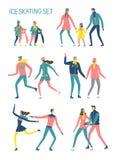 Установленные конькобежцы шаржа иллюстрация вектора