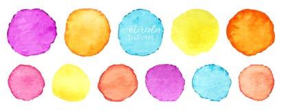 Установленные круги акварели радуги Элементы круга watercolour вектора для дизайна Акварель объезжает предпосылку вектор иллюстрация вектора