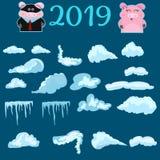 2019 установленные крышек и свинья снега, снежные комья и сугробы Собрание вектора крышки снега Элемент украшения зимы снежно иллюстрация вектора