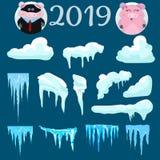 2019 установленные крышек и свинья снега, снежные комья и сугробы Собрание вектора крышки снега Элемент украшения зимы снежно бесплатная иллюстрация