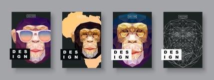 Установленные крышки конспекта обезьяны Шаблон обезьяны карточки Шаблон плаката Futur Полигональное полутоновое изображение Силуэ Стоковое Изображение RF