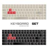 УСТАНОВЛЕННЫЕ клавиатуры Черно-белый дизайн клавиатуры gamer wasd Стоковое Фото