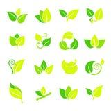 установленные листья иконы Стоковое Изображение