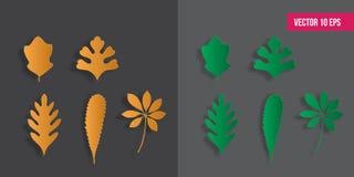 установленные листья осени Бумажный отрезанный стиль, иллюстрация вектора, пакет значка иллюстрация вектора