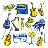 Установленные музыкальные инструменты акварели Все виды аппаратур любят рояль, саксофон, труба, барабанчики и другие Стоковое Изображение