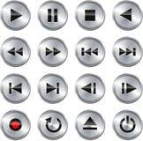 установленные мультимедиа иконы управлением кнопки стоковая фотография
