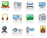 установленные мультимедиа иконы электроники компьютеров Стоковое Изображение