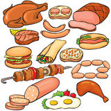 установленные мясные продукты иконы Стоковое Изображение RF