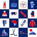 Установленные оборудование спорта зимы и изолированные одеждами иллюстрации бесплатная иллюстрация