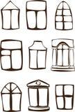 Установленные окна силуэта изолированными на белизне Стоковые Изображения RF