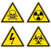 Установленные опасность и предупредительные знаки иллюстрация штока