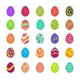 установленные пасхальные яйца Красочные картины праздника Реалистические пасхальные яйца 3d на декоративной предпосылке Праздник  иллюстрация штока
