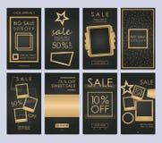Установленные передвижные знамена продажи Шаблоны рассказов мощный social Стоковое Изображение RF