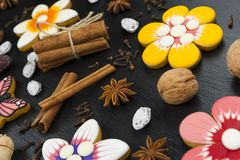 Установленные печенья пряника Стоковое Изображение