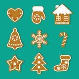 Установленные печенья Gingerbread рождества иллюстрация вектора