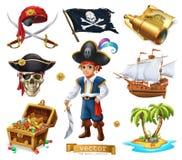 установленные пираты Мальчик, сундук с сокровищами, карта, флаг, корабль и остров вектор иконы 3d иллюстрация вектора