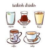 Установленные пить turkish вектора Стоковая Фотография
