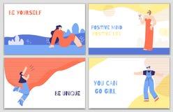Установленные плакаты мотивации женщины с ежедневным стимулом иллюстрация вектора