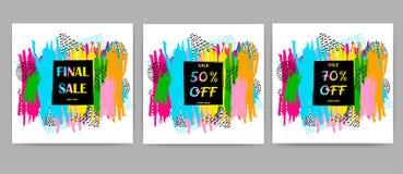 Установленные плакаты продажи Красочные ходы щетки и геометрические диаграммы o Стоковое Изображение RF