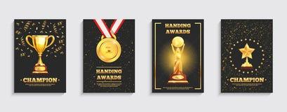 Установленные плакаты трофея золота награды иллюстрация штока