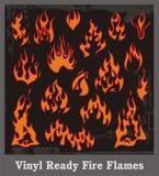 установленные пламена пожара иллюстрация вектора