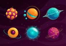 Установленные планеты фантазии шаржа иллюстрация вектора