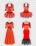 Установленные платья красного цвета иллюстрация штока