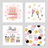Установленные поздравительые открытки ко дню рождения с днем рождений иллюстрация вектора