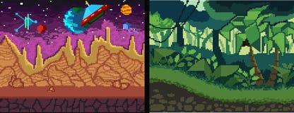 Установленные предпосылки искусства пиксела Тема джунглей и космоса пиксела для игры бесплатная иллюстрация
