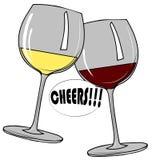 Установленные прозрачные стекла с белым и красным вином Стоковые Фото