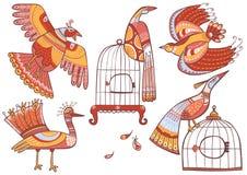 Установленные птицы сказки Стоковые Фото