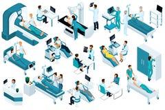 Установленные равновеликие, медицинские работники и пациенты, больничная койка, MRI, блок развертки рентгеновского снимка, блок р иллюстрация штока