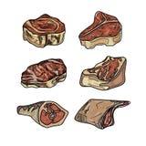 Установленные различные отрезки мяс Стоковое Изображение