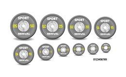 Установленные различные серые плиты веса, пронумерованные весы Иллюстрация установленная для штанг СПОРТЗАЛ желания, фитнес-центр иллюстрация штока