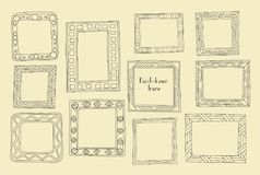 Установленные рамки нарисованные рукой Стиль шаржа греческий Рассекатели вектора, gra Стоковое Изображение