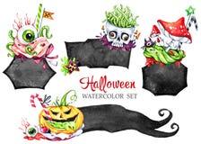 Установленные рамки, ядовитые десерты акварели Собрание праздника хеллоуина еда смешная Волшебство, символ ужаса ребяческо иллюстрация вектора
