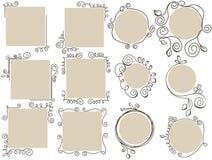 установленные рамки doodle иллюстрация штока