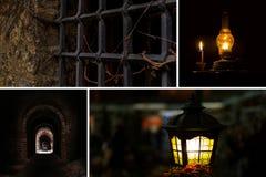Установленные руины подвала катакомб рокируют страх приключения света лампы керосина тоннеля окна гриля desolation завораживающий стоковая фотография