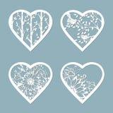 Установленные сердца восковки с цветком Шаблон для дизайна интерьера, приглашений, etc Изображение соответствующее для вырезывани иллюстрация штока