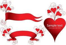 установленные сердца знамен Стоковые Изображения RF