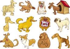 установленные собаки шаржа Стоковое Изображение