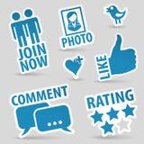 Установленные социальные иконы средств Стоковая Фотография RF