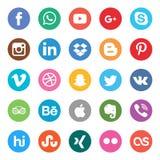 установленные средства социальными Красивый дизайн значка круга цвета для вебсайта, шаблона, знамени иллюстрация вектора