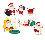 Установленные сцены Санта Клауса вектора плоские Бесплатная Иллюстрация