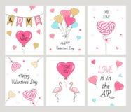 Установленные счастливые карточки дня ` s валентинки Стоковое Изображение